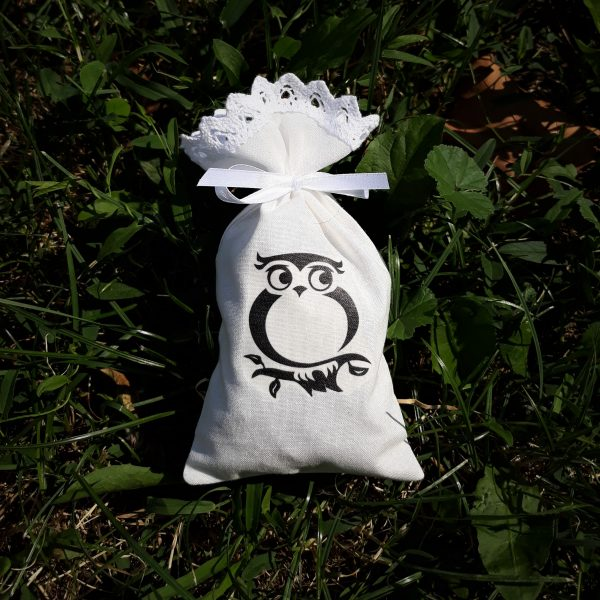 Dišeča vrečka s sivko potisk sovica